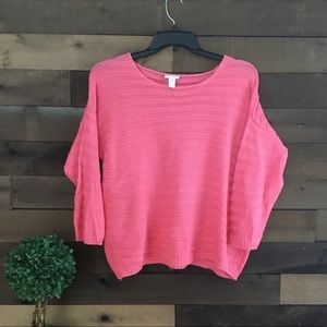Chico's Melon colored cable knit sweater size 3